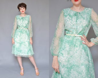 70s Sage Green Sheer Floral Dress L Silky Floral Printed Spring Drees Sheer Sleeve Long Sleeve Full Skirt Garden Party Delicate Midi Dress