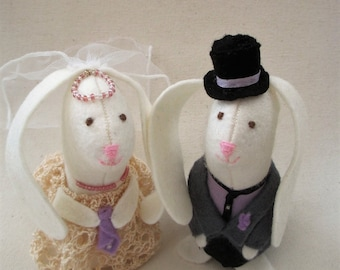 White Rabbit Wedding Cake Toppers, Felt Rabbits, Handmade Cake Toppers