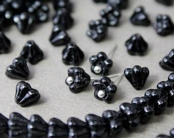 Czech glass Beads Bell Flower Jet black 25 Pcs, Czech Glass Beads, Czech Glass, Czech Bell Flower Beads, Czech Glass Beads, Czech Beads