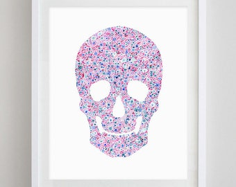 Skull Floral Watercolor Art Print - Chi Omega