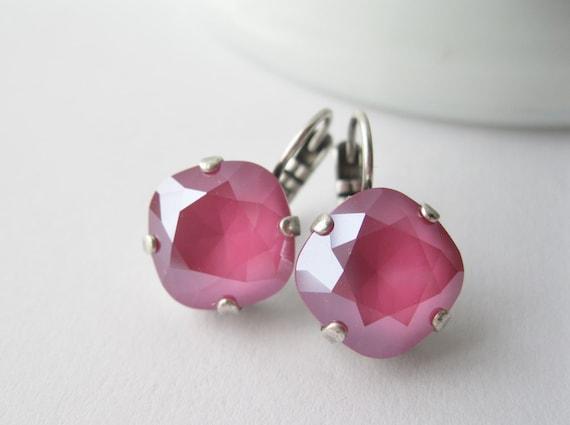 Peony Pink Drop Earrings Swarovski Crystals Spring Prom Jewelry Fuchsia Earrings Spring Wedding Pink Bridesmaid Earrings