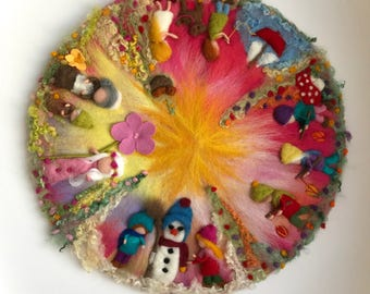 4 Seasons circle, Picture,tapestry,Wall hanging,Wet felted,Needle Felted. Wool painting,Waldorf
