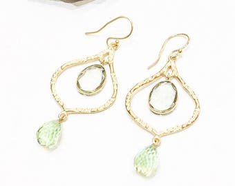 Green Amethyst Statement Chandelier Drop Earrings