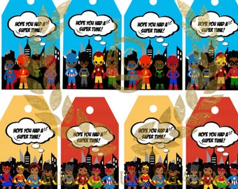 African American Superhero Favor Tags INSTANT DOWNLOAD, Printable File, Superhero Party, Superhero Birthday Party, Superhero Tags