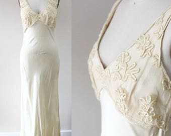 1980s satin champagne gown // full length dress // vintage dress