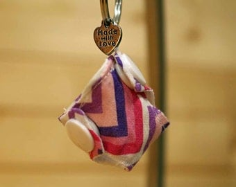 Cloth Diaper Key Chain, Mini Cloth Diaper, Accessories, Pink and Purple Chevrons, item #KC323