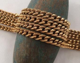 Vintage Brass Curb Chain, Heavy Curb Chain, Brass Curb Chain, 8mm, 3FT