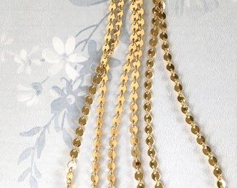 Tiny Gold Coin Chain, Shiny Gold Coin Chain, Fancy Brass Chain, 4mm, 4Ft