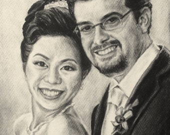 Custom Portrait Drawing in Charcoal, Two subject, 9x12""