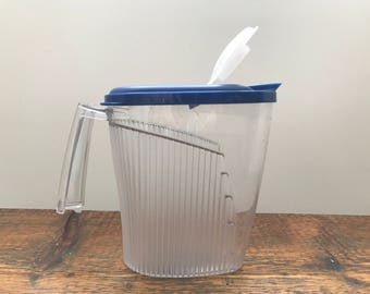 Vintage Tupperware Impressions Pitcher with Blue Top / Tupperware Clear Acrylic Pitcher / 4722A