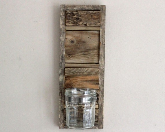 Driftwood Wall Sconce Vase With Glass Jar
