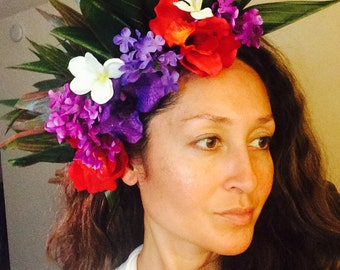 Flower head bands with ti leaves