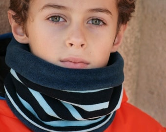 Snood enfant polaire et coton bleu marinière