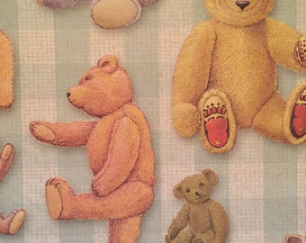 12 5.75x5.75 sheets embossed cardstock with teddy bear pattern