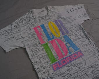 Crazy Dope Vintage 90's FLORIDA All Over Print Map T-Shirt