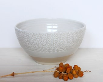 Stoneware bowl Faceted bowl Serving bowl Handmade bowl White ceramic bowl Ceramic and pottery Clay bowl Salad bowl Dining and serving