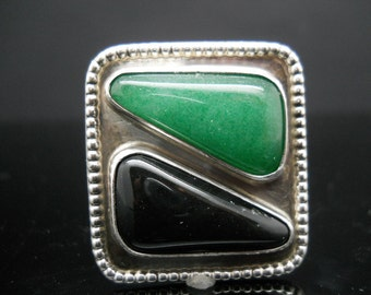 Sterling Silver Hand Made Bolo Tie Slide Aventurine Onyx Beaded Edge 925 Estate Jewelry No Cord