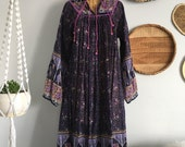 ONE DAY SALE Indian Floral Print Gauze Cotton Bohemian Hippie Gypsy Festival Tunic Maxi Dress M