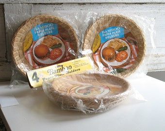 Vintage bamboo paper plate holders, set of four / woven wicker plate holders /  NOS boho 1970s dishware