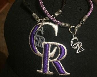 Colorado Rockies Braided Leather Bracelet