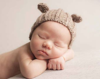 Newborn Bear Hat, Taupe Newborn Bear Hat, Brown Bear Bonnet, Newborn Photo Prop Hat