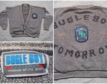 Vintage Retro Men's 90's Bugle Boy Cardigan Sweater Grey White Designer Patches Varsity Direction XL
