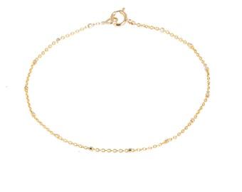 Dainty 14k Gold Chain Bracelet/birthday/anniversary/wedding/bridesmaids/two tone bracelet/rolo