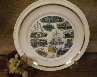 Louisiana Vintage Souvenir Plate Louisiana State Plate