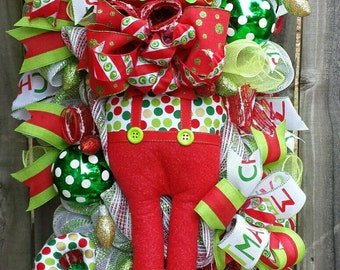 Christmas Elf Swag, Christmas Elf decor, Christmas Elf Wreath, Christmas wreath,Christmas decorations, Holiday elf, Christmas Elf, Elf decor