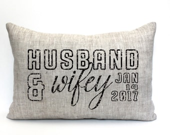 """valentine gift, husband and wifey pillow, wedding shower gift, bridal shower, name pillow, gift for her  - """"The husband and wifey"""""""
