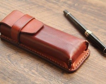 Handmade Vintage brownLeather Pen Case-pencil box--double fit in