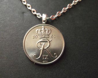 Danish 25 ORE Coin Necklace from Denmark dated 1961- Denmark Coin Pendant