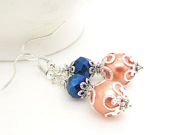 Peach and Navy Bridesmaid Earrings, Navy and Coral Bridesmaid Jewellery, Peach Wedding Jewellery, Crystal Bridal Sets, Beaded Pearl Drops