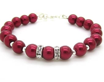 Red Bridesmaid Pearl Bracelets, Dark Red Wedding Jewellery, Bridesmaid Sets, Bridal Party Gifts, Matching Bridal Sets Claret Pearl Jewellery