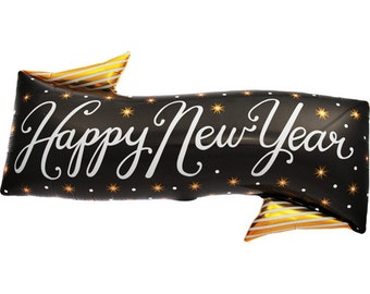 New Years Eve Balloon Banner Black and Gold Foil NYE Party Decoration