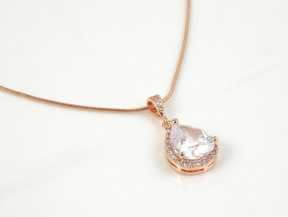 Gold Necklace Bridesmaid Gift Idea Crystal Necklace Wedding Jewelry ...