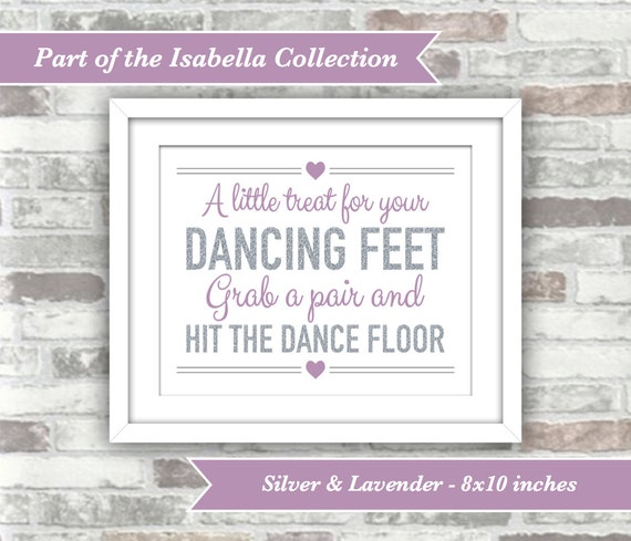 INSTANT DOWNLOAD - Isabella Collection - Printable Wedding Flip Flops Sign - Dancing Feet - 8x10 Digital Files - Silver Glitter Lavender