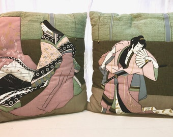 Vintage Asian Throw Pillows Pair. Decorative Pillows.