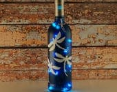 Blue and white, hand painted dragonflies, wine bottle lamp
