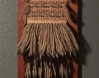 Mid Century wood and fiber wall art
