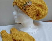 Hand Knit Gold Slouchy Hat With Matching Mittens, Women's Medium.