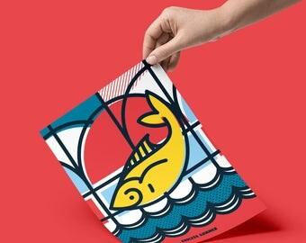 Endless Summer, Pop Art, Summer, Greek Island, Fish, Sea, Colour, illustration, Wall Art, Home Decor, a4, Poster, Geometric