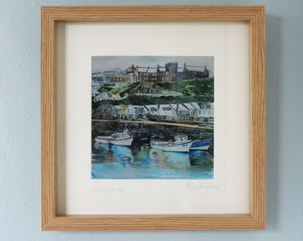 Framed print of Porthleven, Cornwall print, Porthleven harbour and boats, painting of Cornish harbour, boat print