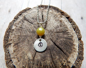 Peace sign necklace, silver charm necklace, olive jade gemstone