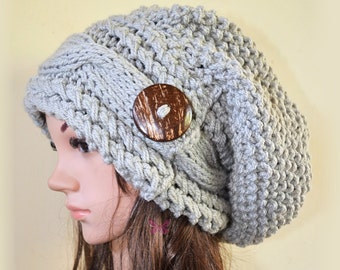 Slouchy Deluxe cable beanie hat with button - Pearl Grey (or Choose color) - oversized - handmade - baggy - gift