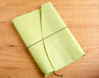 Handmade Leather Traveler's Notebook, Midori style in Regular Wide Trifold - Worn Lime Green