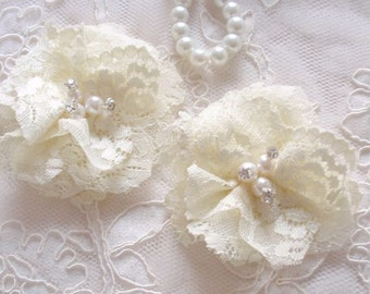 2 Lace Flowers Lace Rose Fabric Flower With Rhinestone Pearl (2-3/4 inches) Candlelight MY-608-02 Ready To Ship