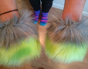 One Luxury Pair of 2- tone Lime Green and Grey Furry Wrist Cuffs Wristlets Cute Cosy Cosplay Elasticated Winter
