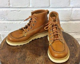 Vintage 1970s NOS Boy's Moc Toe Crepe Sole Boots. Size 13 1/2