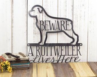 "Rottweiler Metal Wall Art   Metal Sign   Dog Sign   Wall Hanging   Rottweilers   Outdoor Sign   Metal Wall Decor   Sign   11.75""W x 12""H"